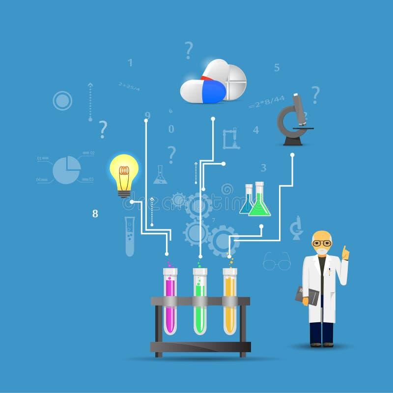 La Science et médecine infographic sur le fond bleu (grand chemica illustration de vecteur