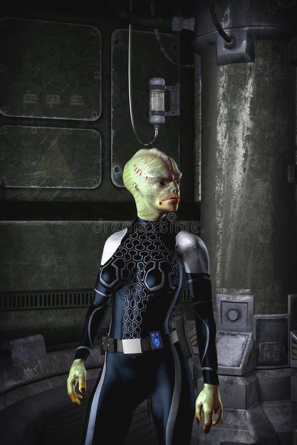 La science-fiction femelle étrangère d'aventurier illustration de vecteur