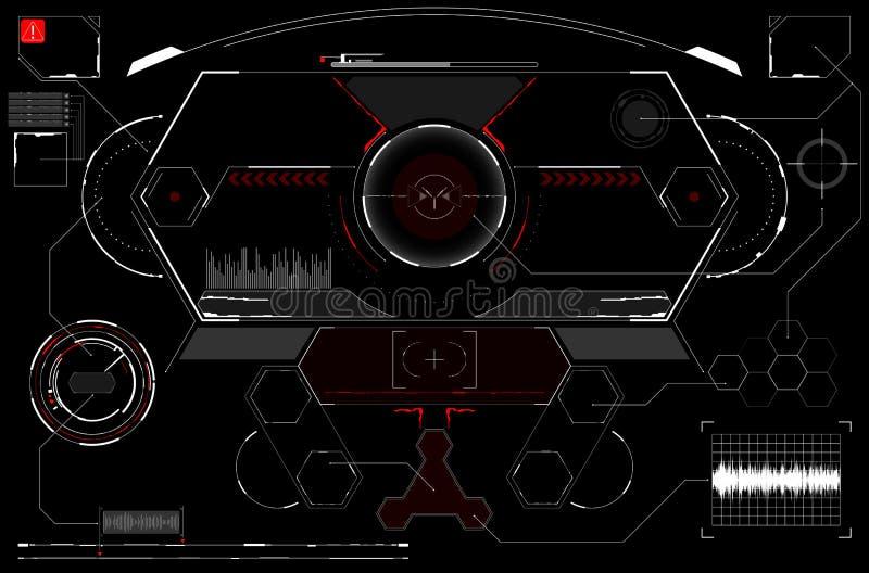 La science fiction HUD Display rougeoyant futuriste Écran de technologie de réalité de Vitrual illustration stock