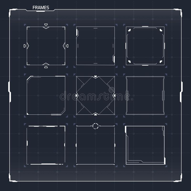 La science fiction HUD Ui Square Frames illustration stock