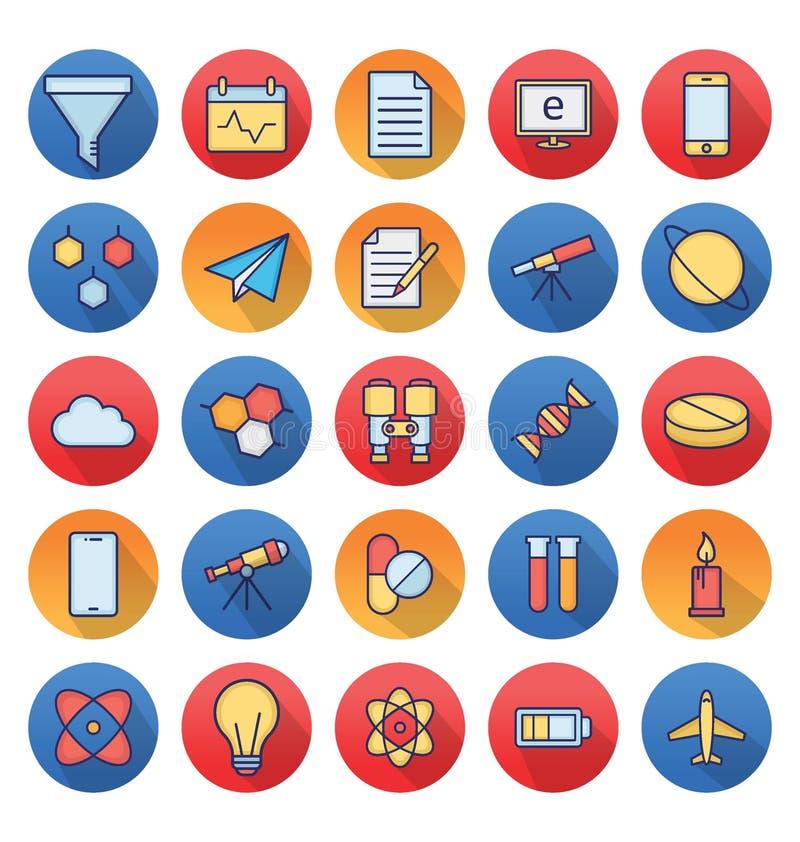 La scienza e tecnologia ha isolato le icone di vettore messe per consistere con il laboratorio medico, chimica, aereo, cellulare  illustrazione di stock