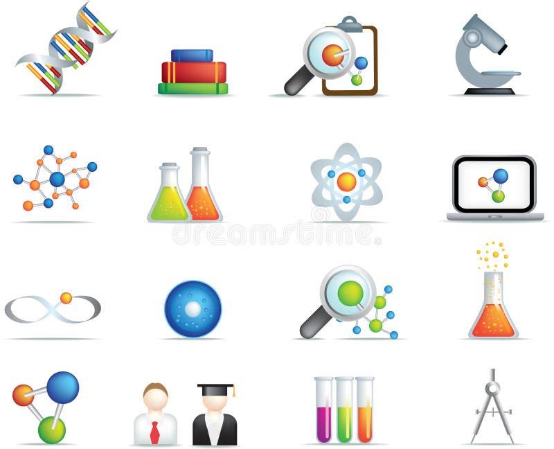 La scienza ha dettagliato l'icona impostata nel colore completo illustrazione vettoriale
