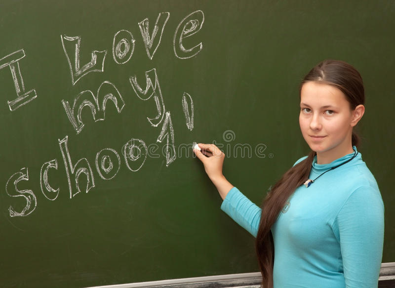 La scolara della ragazza incontra una lezione inglese fotografie stock