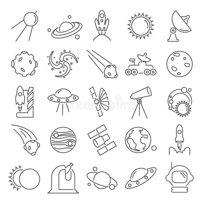 La scoperta e l'esplorazione della linea icone dello spazio messe illustrazione di stock