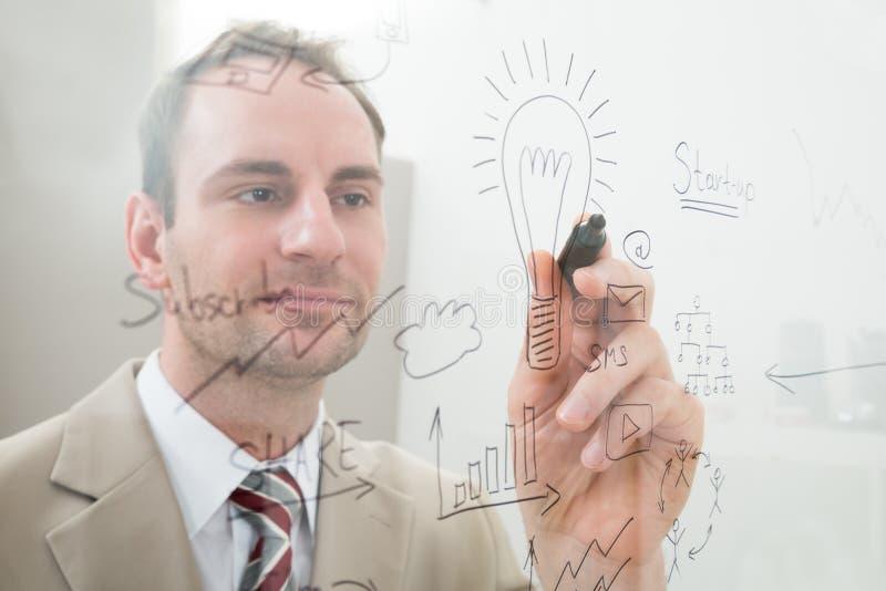 Download La Scrittura Dell'uomo D'affari Inizia Sul Piano Fotografia Stock - Immagine di businessperson, disegno: 55353622