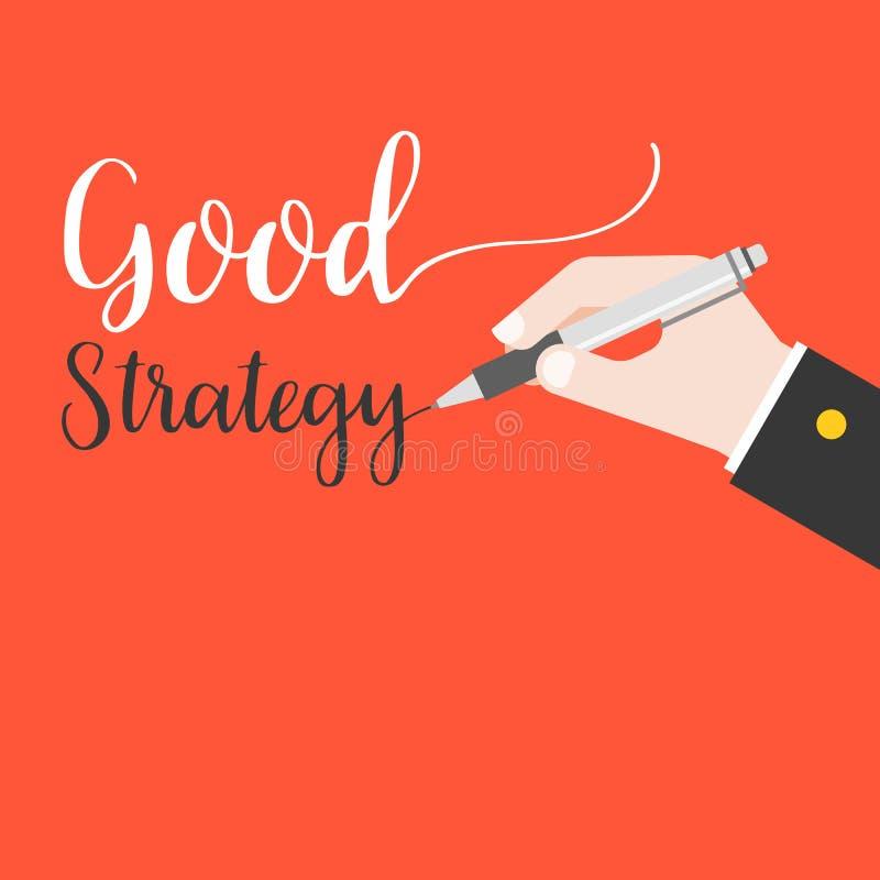 La scrittura della penna di tenuta della mano di affari esprime la buona iscrizione della mano di strategia sul fondo rosso illustrazione di stock