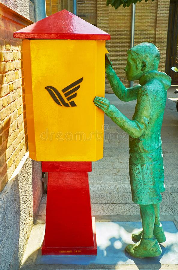 La sculpture en bronze à la boîte de courrier, Téhéran, Iran images stock