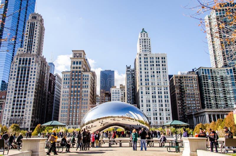 La scultura del fagiolo nel parco di millennio in Chicago Illinois immagine stock libera da diritti