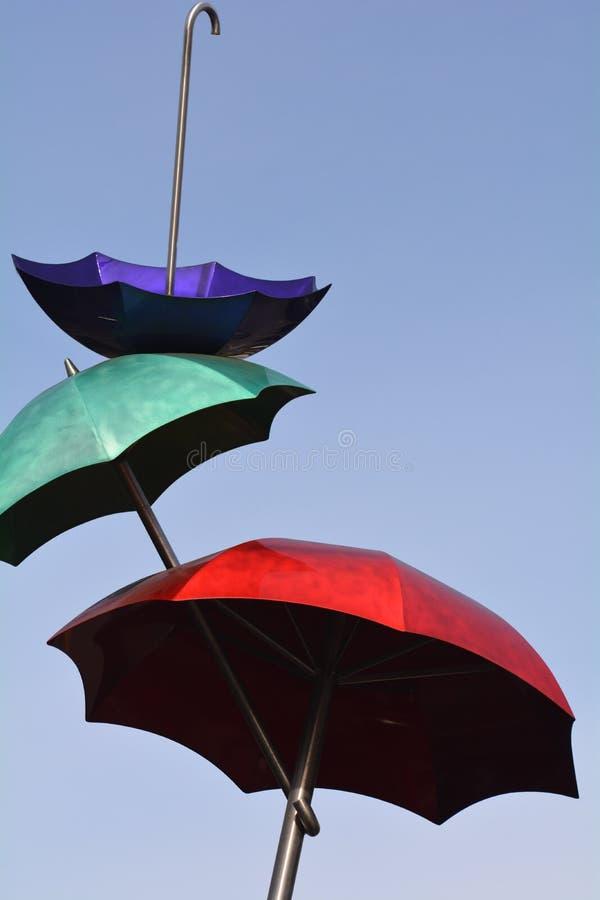 La scultura di Ombrelli Volanti a Vancouver, Washington fotografia stock libera da diritti