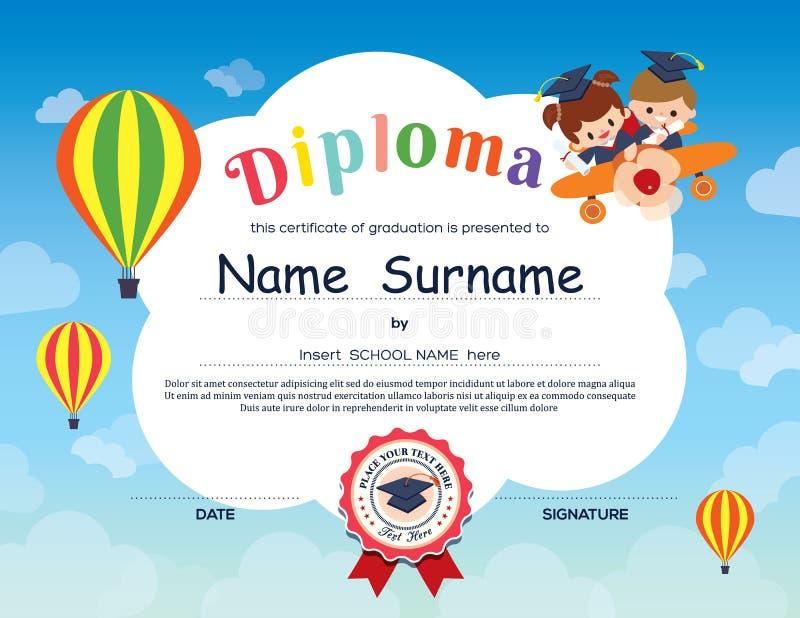 La scuola elementare prescolare scherza il fondo del certificato del diploma illustrazione vettoriale