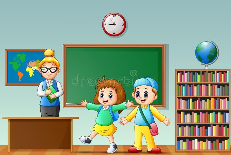 La scuola felice scherza con l'insegnante femminile in un'aula illustrazione vettoriale