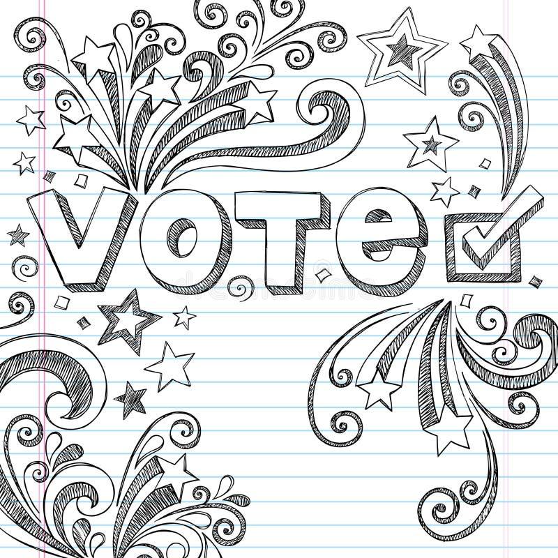 La scuola imprecisa di elezione di voto Doodles il vettore Illust illustrazione vettoriale