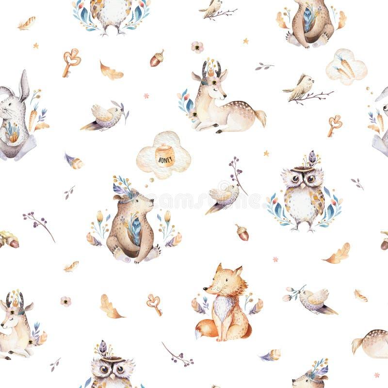 La scuola materna degli animali del bambino ha isolato il modello senza cuciture con i bannies Volpe sveglia del bambino di boho  royalty illustrazione gratis