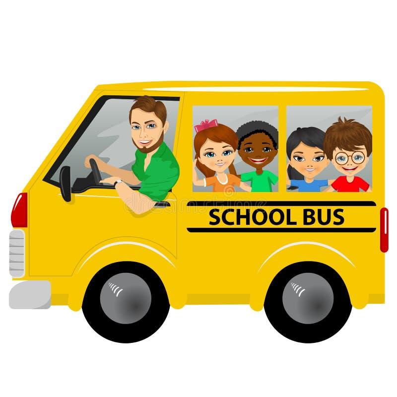 La scuola multirazziale scherza la guida dello schoolbus royalty illustrazione gratis