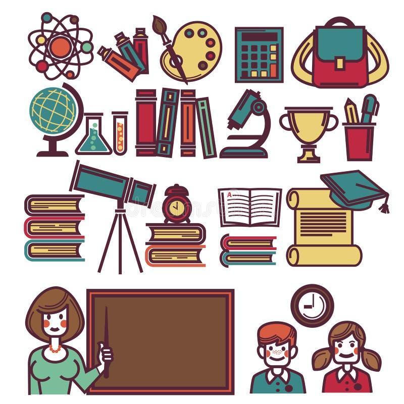 La scuola obietta il manifesto con l'insegnante ed i bambini illustrazione di stock
