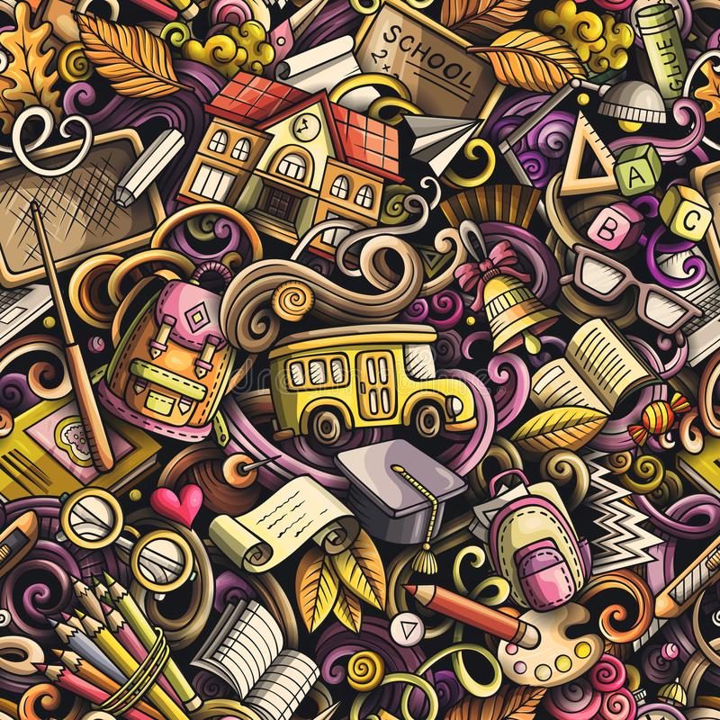 La scuola scarabocchia il modello senza cuciture Giorno del fondo disegnato a mano di arte di scarabocchio di conoscenza Di nuovo illustrazione di stock