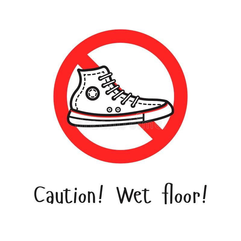 La señal de peligro con el deporte calza en el centro ilustración del vector