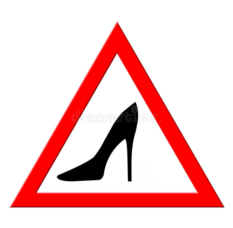 La señal de peligro con la mujer calza la silueta stock de ilustración