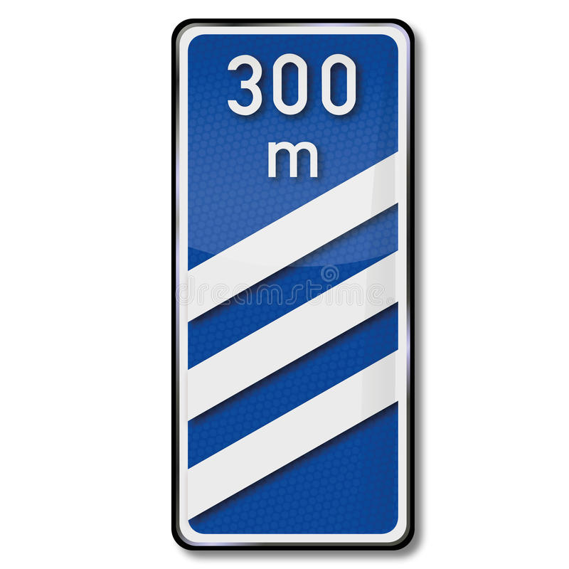 La señal de tráfico cuece con la distancia 300 metros ilustración del vector