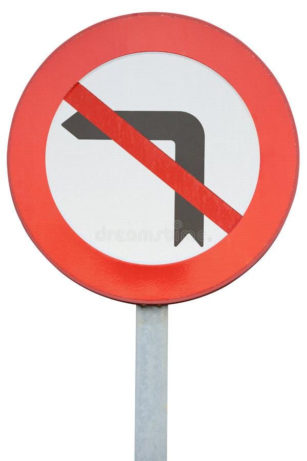 La señal de tráfico que da vuelta a la izquierda se prohíbe aisló en el fondo blanco imagen de archivo libre de regalías
