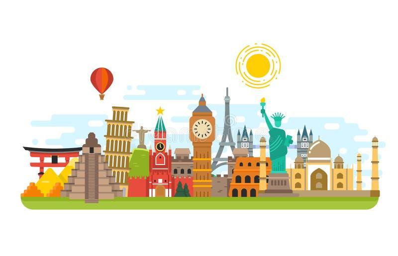La señal famosa del viaje, los símbolos internacionales vector el fondo del concepto del turismo ilustración del vector