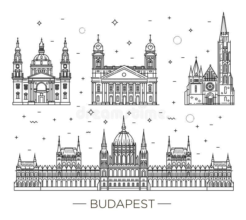 La señal húngara del viaje de edificios históricos enrarece la línea sistema del icono ilustración del vector