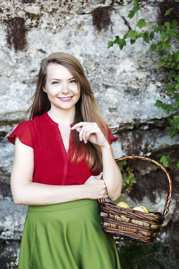 La señora adorable sostiene la cesta llena de manzanas foto de archivo
