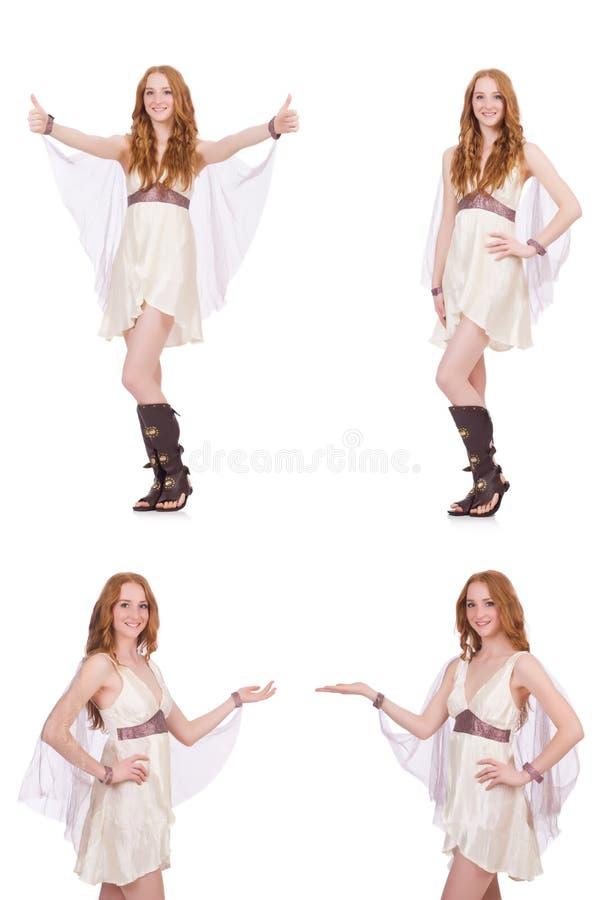 La señora bonita en el vestido encantador ligero aislado en blanco fotos de archivo
