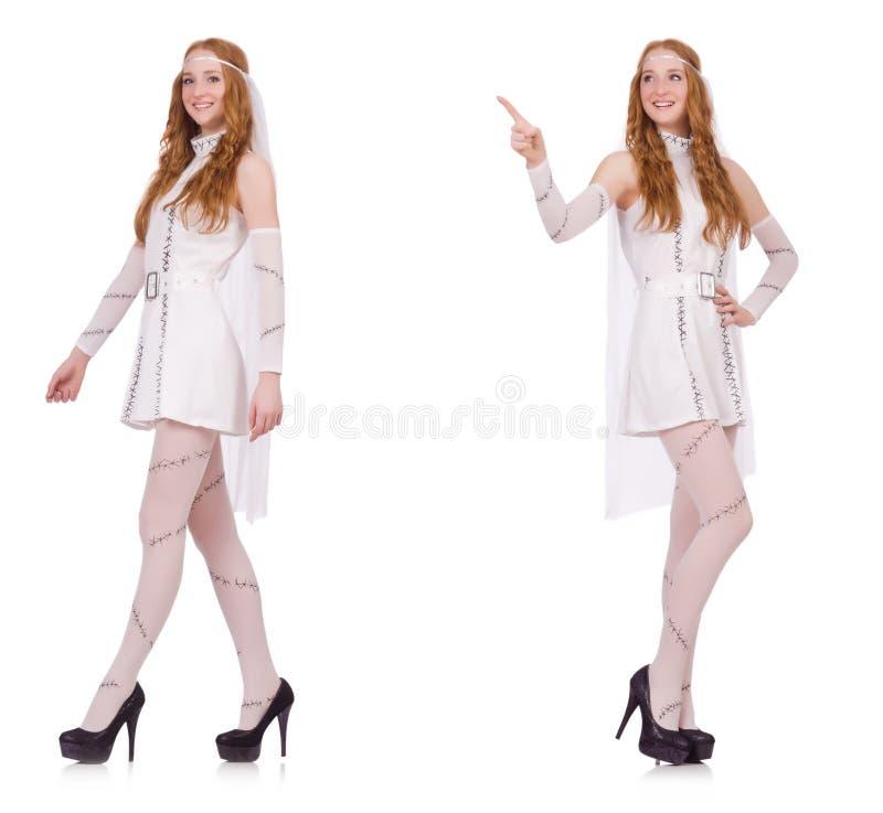 La señora bonita en el vestido encantador ligero aislado en blanco imágenes de archivo libres de regalías