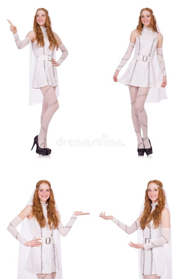 La señora bonita en el vestido encantador ligero aislado en blanco imagen de archivo