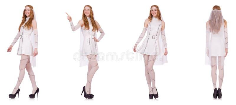 La señora bonita en el vestido encantador ligero aislado en blanco fotografía de archivo