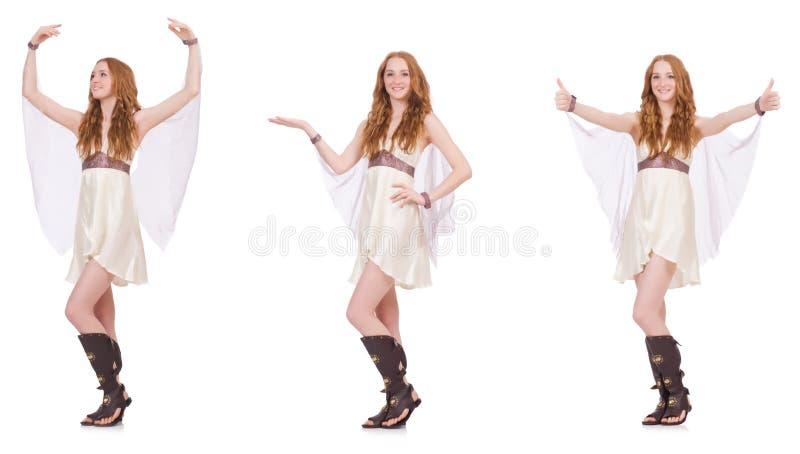 La señora bonita en el vestido encantador ligero aislado en blanco foto de archivo