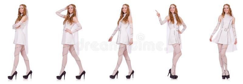 La señora bonita en el vestido encantador ligero aislado en blanco imagenes de archivo
