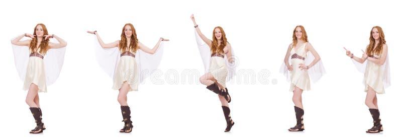 La señora bonita en el vestido encantador ligero aislado en blanco imagen de archivo libre de regalías