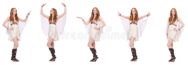 La señora bonita en el vestido encantador ligero aislado en blanco fotos de archivo libres de regalías