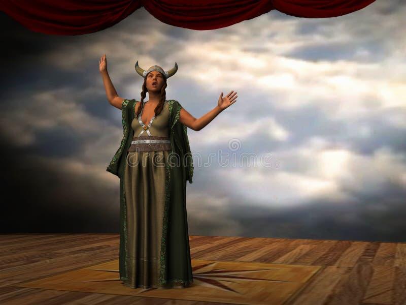 La señora gorda canta al cantante Illustration de la ópera libre illustration