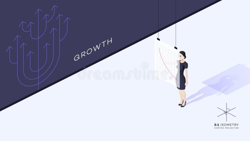 La señora joven hermosa del negocio está haciendo frente a la audiencia Los puntos de la mano de la muchacha a la carta de crecim stock de ilustración