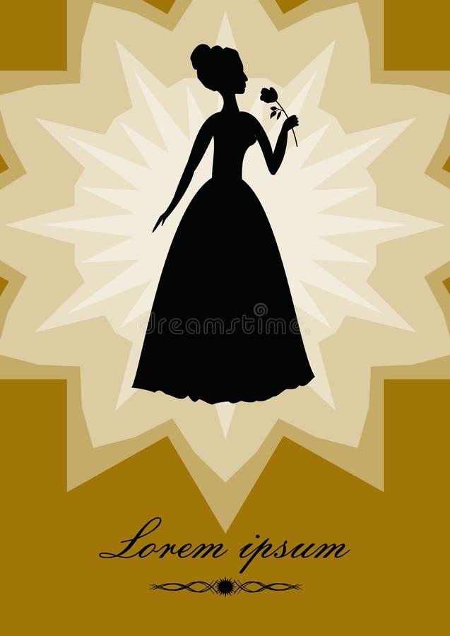 La señora negra con subió, silueta en forma de la estrella del fondo del oro Plantilla diseñada retra del art déco en el estilo d ilustración del vector