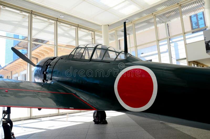 La seconda guerra mondiale imperiale dell'aeronautica del Giappone zero aeroplani del combattente immagini stock libere da diritti