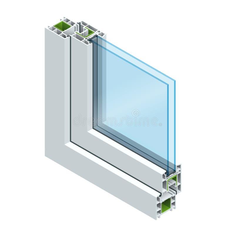 La section transversale isométrique par un profil de PVC de carreau de fenêtre a stratifié le grain en bois, blanc classique Illu illustration libre de droits