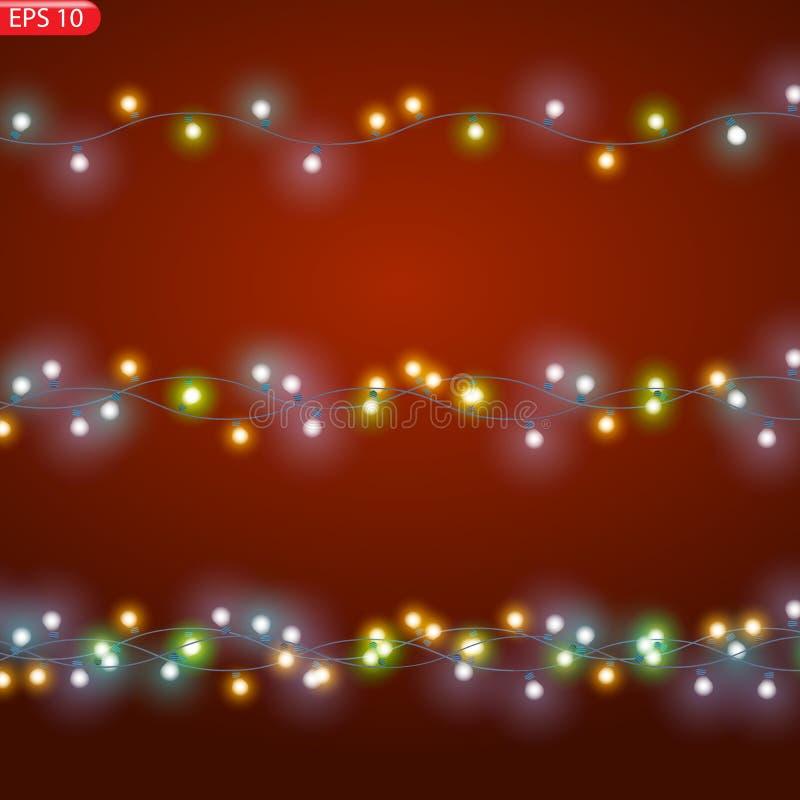 La secuencia ató con alambre luces que brillaban intensamente de la Navidad libre illustration