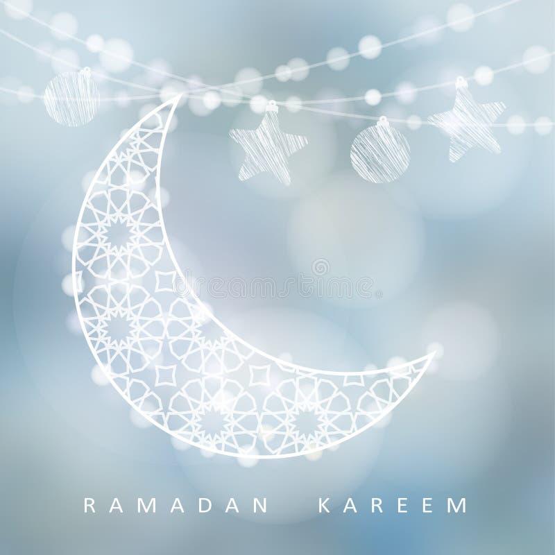 La secuencia con la luna, las estrellas, las bolas y el bokeh ornamentales se enciende, fondo del ejemplo, tarjeta del Ramadán ilustración del vector