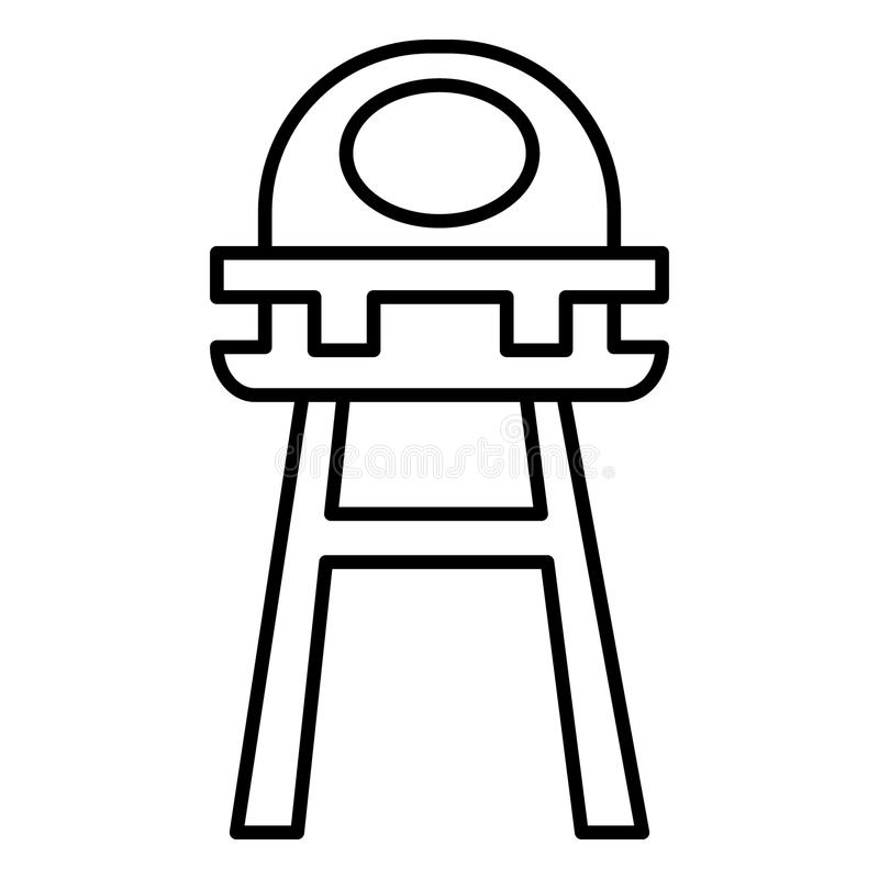 La sedia di alimentazione del bambino allinea leggermente l'icona Illustrazione di vettore del seggiolone del bambino isolata su  royalty illustrazione gratis