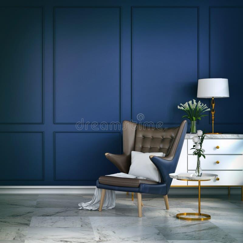La sedia interna e blu della stanza moderna di lusso di salotto con la lampada bianca e la credenza bianca sulla parete blu /3d r illustrazione vettoriale
