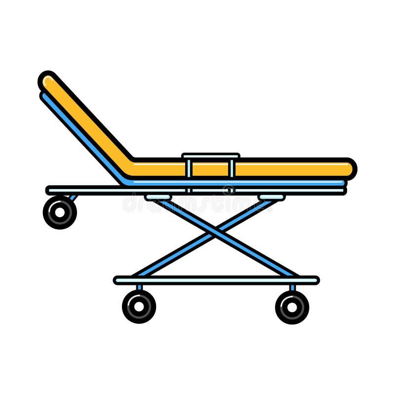 La sedia a rotelle medica dell'ambulanza della rianimazione per trasporto dei pazienti, letto con spinge nell'ospedale, icona su  illustrazione vettoriale