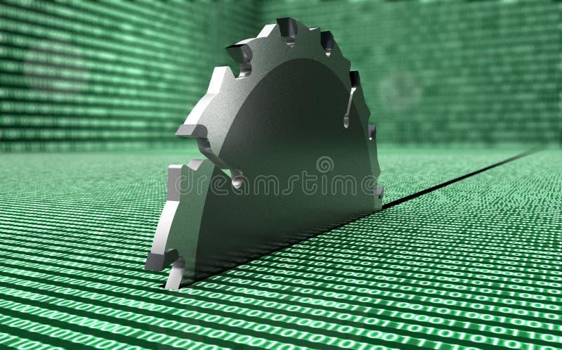 La sega d'acciaio del cerchio sta distruggendo i dati illustrazione vettoriale