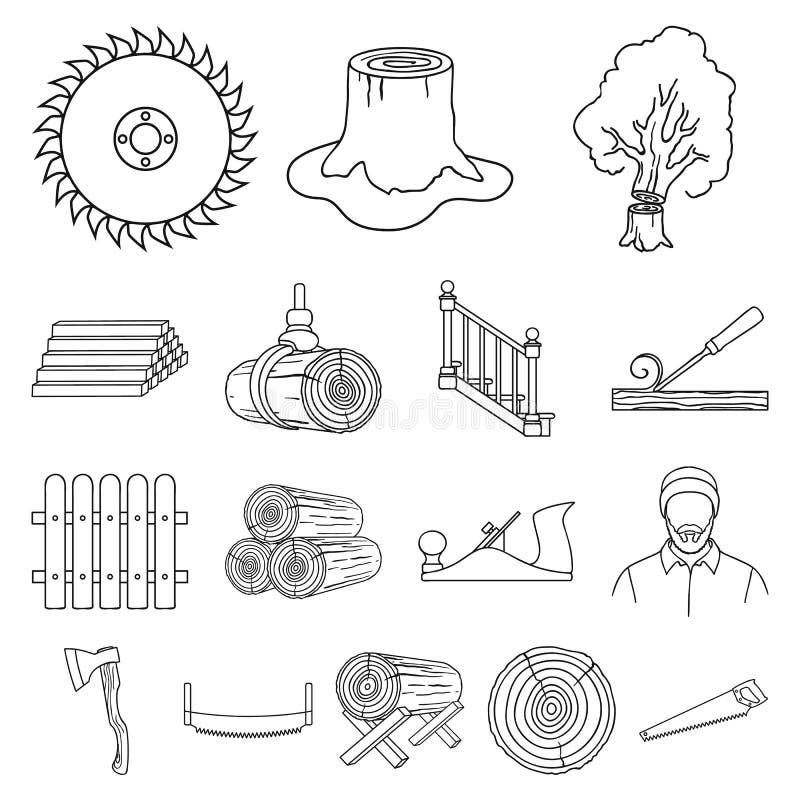 La segheria ed il legname descrivono le icone nella raccolta dell'insieme per progettazione L'hardware e gli strumenti vector l'i illustrazione di stock