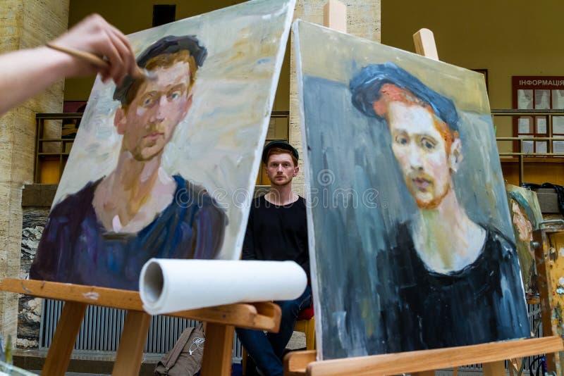 La segunda plata totalmente ucraniana E de la competencia de la pintura del ` de los estudiantes fotografía de archivo libre de regalías