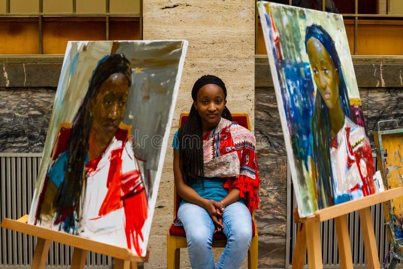 La segunda plata totalmente ucraniana E de la competencia de la pintura del ` de los estudiantes imagen de archivo libre de regalías