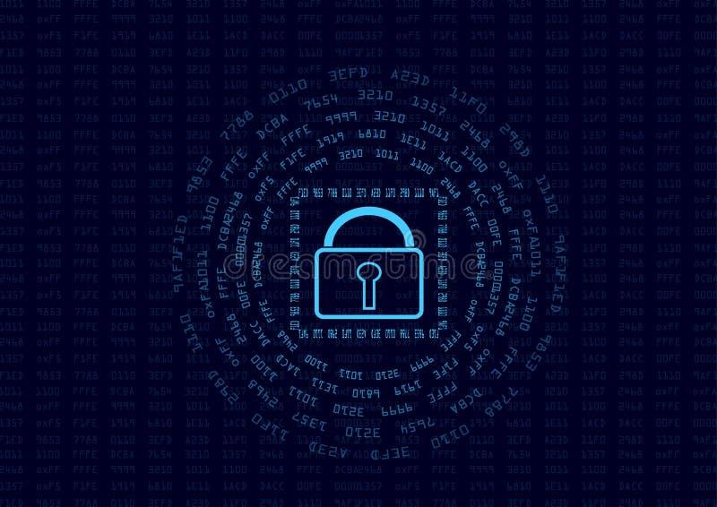 La seguridad abstracta cifra el resumen del concepto y de mensaje de los datos ilustración del vector